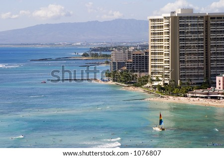 A view of the Waikiki coastline. - stock photo