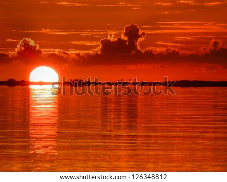A View of the Water in Abaco, The Bahamas, at Sunrise and/or Sunset - stock photo