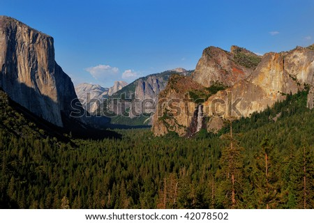 A view of the Yosemite valley from the Tunnel View. - stock photo