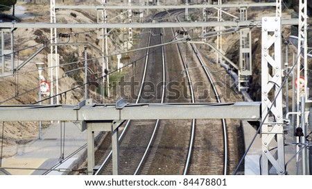 a view of two railroad tracks