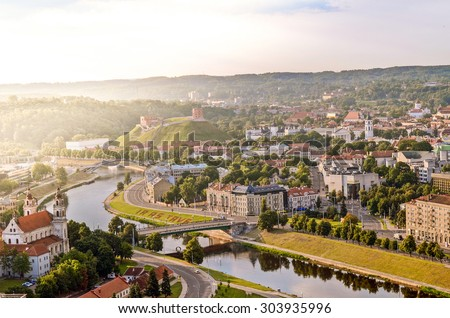 A view of Vilnius Old Town at sunrise - stock photo