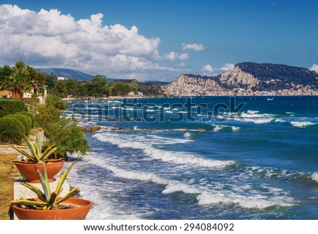 A view of Zakynthos town from Argassi, Greece - stock photo