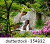 A view on a waterfall in a japanese garden. - stock photo
