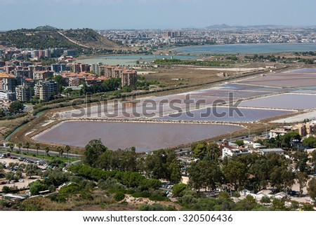 A view on Cagliari ans the salt flats, Sardinia, Italy.