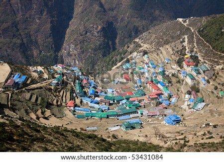 A view on mountain village Namche Bazaar in Nepal, Himalayas.