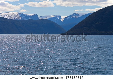 A view on Norwegian fjords from the boat - stock photo