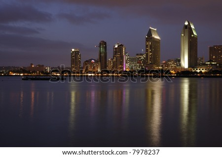 A view on San Diego Downtown from Coronado Island at dusk. - stock photo