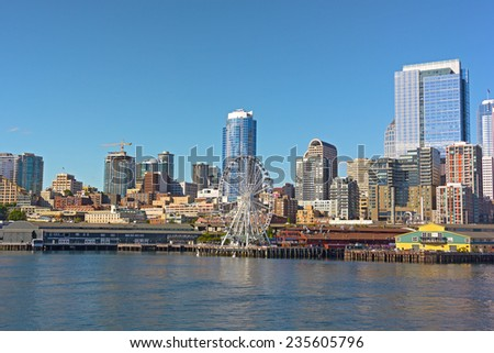 A view on Seattle downtown from the water of Puget Sound.  - stock photo