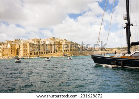 A view on Senglea across the harbor seen from La Vittoriosa, Malta - stock photo