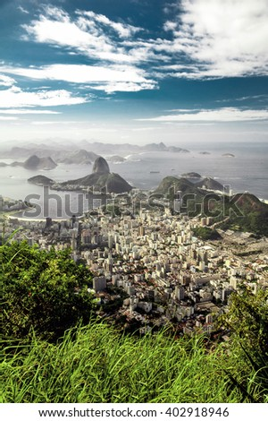 A view on Sugar Loaf from Corcovado mountain in Rio de Janeiro - stock photo