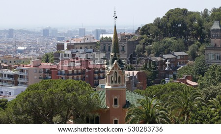A view on the city from Park Guell, Barcelona, Spain, July 2016