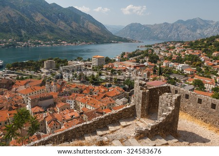 A view over Kotor bay, Montenegro - stock photo