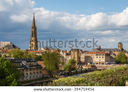 A view over modern part of Metz, France