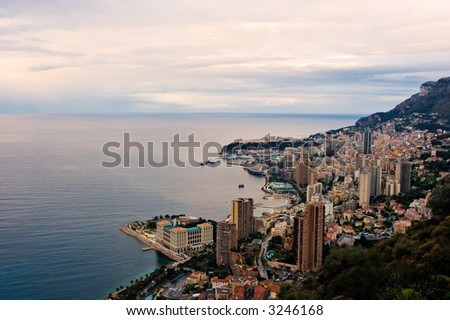 A view over Monaco skyline at Sunrise. - stock photo