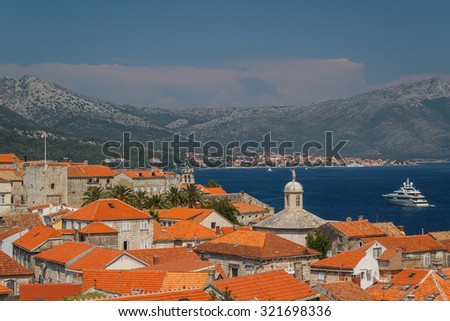 A view over old town of Korcula, Croatia - stock photo