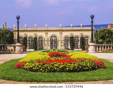 A view over the  Dom Perignon factory epernay champagne ardennes france - stock photo