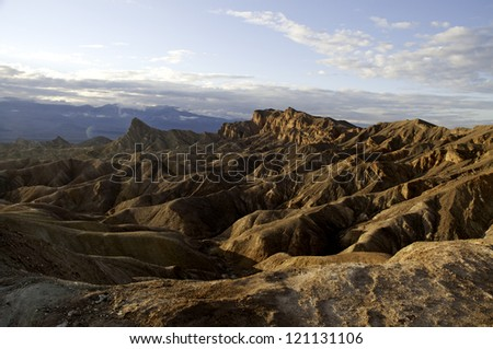 A view overlooking the mountains in Death Valley National Park. - stock photo