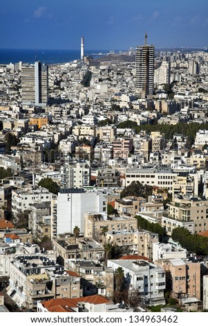 A view to the north, showing the cityscape of Tel-Aviv, the largest metropolis in Israel. - stock photo