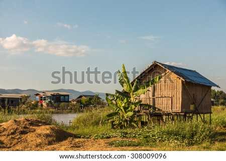 A village near the Inle Lake in Myanmar - stock photo