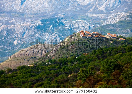 A village next to St.Stefan.Montenegro. - stock photo