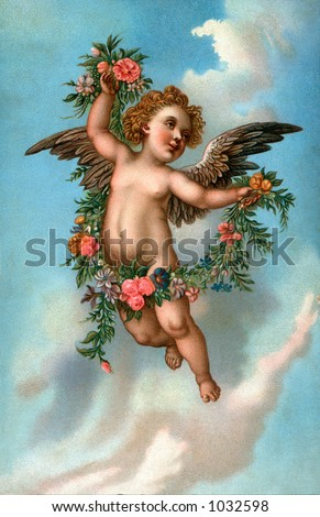 A vintage angel illustration with floral wreath (circa 1890) - stock photo