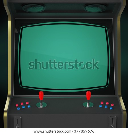 A vintage arcade game machine screen close up with colorful controllers and a screen isolated. gaming, vintage, win, poster template. high quality 3d rendering. - stock photo