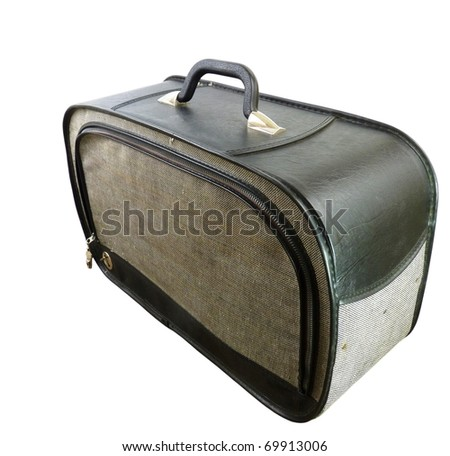 a vintage black leather and cloth suitcase isolated on white with a clipping path