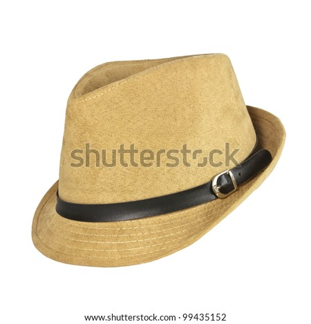 A vintage brown hat on white background
