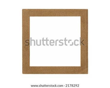 A vintage brown paper picture frame isolated on white. - stock photo