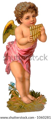 A vintage cherub illustration with a pan-flute, circa 1885 (see also other paired angel - search on ''RLIT0097'')