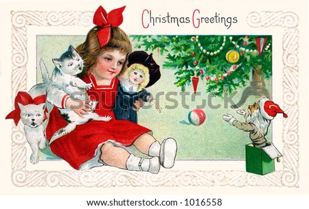 A vintage Christmas greeting card illustration of a little girl playing with toys under the Xmas tree (circa 1901) - stock photo