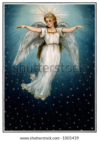 A vintage Christmas illustration of a angel flying in a starry night sky (circa 1890) - stock photo