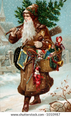 A vintage Christmas illustration of Father Christmas with a bag of gifts (circa 1890)