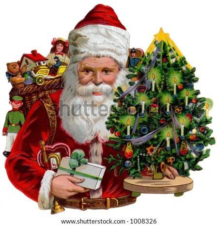 A vintage Christmas illustration of Santa Claus with a tree and gifts (circa 1890) - stock photo