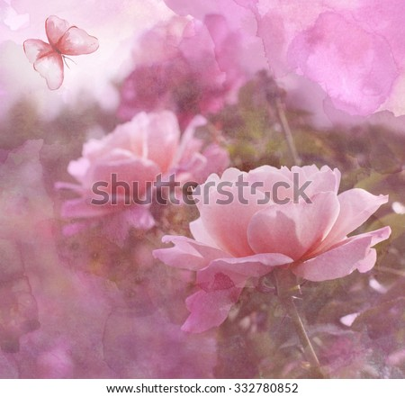A vintage collage with delicate pink roses and a watercolor butterfly, with artistic texture and blur - stock photo
