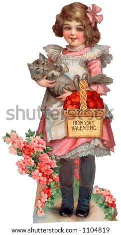 "A vintage die-cut Valentine illustration of girl with a basket of hearts and a cat (greeting card entitled, ''From Your Valentine"") circa 1885"