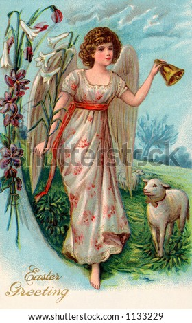 A vintage Easter illustration of an angel leading sheep to pasture (circa 1910) - stock photo
