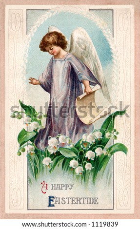 A vintage Easter illustration of an angel standing among Lily of the Valley flowers (circa 1912) - stock photo