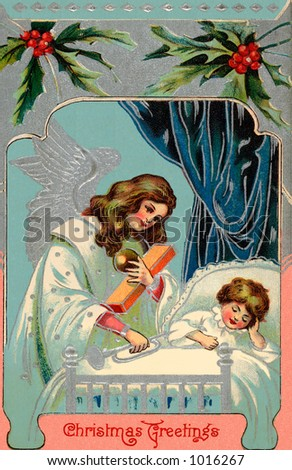 A vintage greeting card illustration of a Christmas angel giving gifts at a child's bedside (circa 1890) - stock photo