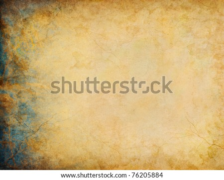 A vintage grunge background with patina-like colors and textures on the left side margin. - stock photo