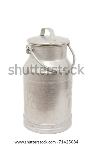 a vintage milk can isolated on white - stock photo