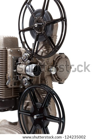 A vintage 8mm movie projector on a white background - stock photo