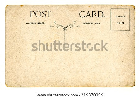 A vintage Postcard over a plain white background. - stock photo