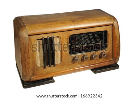 A vintage radio receiver on a white background