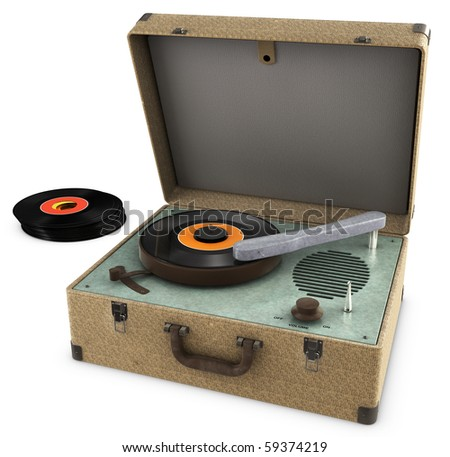 A Vintage Record Player Isolated on white. Includes Clipping path! - stock photo