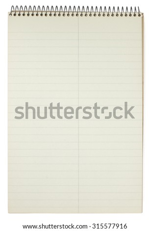 A vintage spiral bound steno pad showing age and discoloration. Isolated on white. Clipping path included.