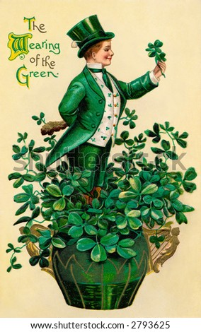 A 1910 vintage St. Patrick's Day greeting card illustration of an Irish man showing 'The Wearing of the Green' - stock photo