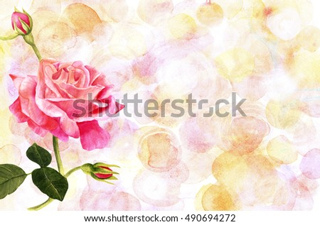 A vintage style watercolor drawing of a tender pink rose branch on a pastel background with copyspace. Business card or flyer horizontal design template