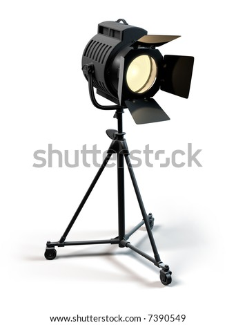 A vintage theater spotlight on a white background - stock photo