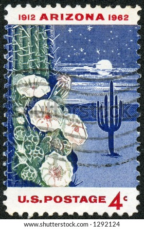 A vintage US Postage Stamp depicting the 50th anniversary of Arizona statehood with a night time desert scene with cactus and moon - stock photo